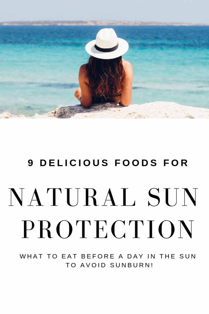 Learn what science says about these delicious and healthy foods to eat before a day in the sun to help protect you and your family from sunburn and have more picture perfect, glowy, firmer skin. #skincare #beautyqueen #sunscreentips #naturalbeautytips