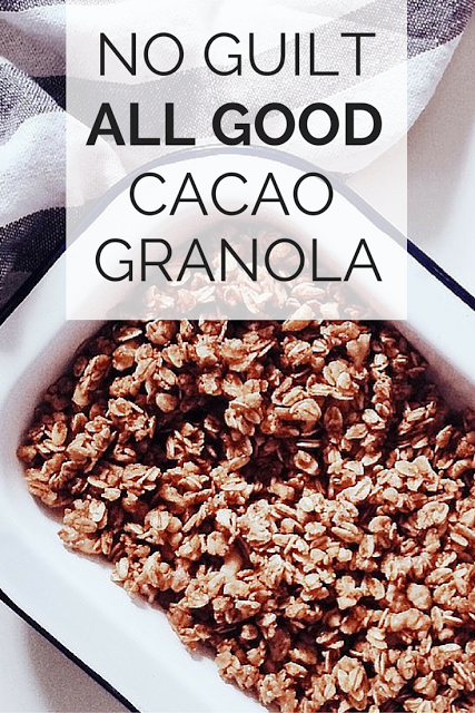 This chocolate granola makes a great super healthy, portable, filling, anytime snack. And the smell, when it is baking? It is down right bewitching! Tap here for the easy steps to serve an energy-boosting, no guilt, all good chocolate granola. (TheHealthMinded.com) #recipe #healthy