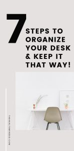 Tap here to get a super easy plan to organize your desk for good - and keep it that way. Be on your way to finding exactly what you need, when you need it fueling not only your productivity but your creativity, too! #deskorganization #organizationtips #officeorganization #homeorganization
